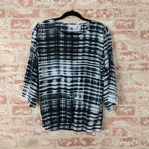 Chico's Black & White Abstract Print Blouse 0